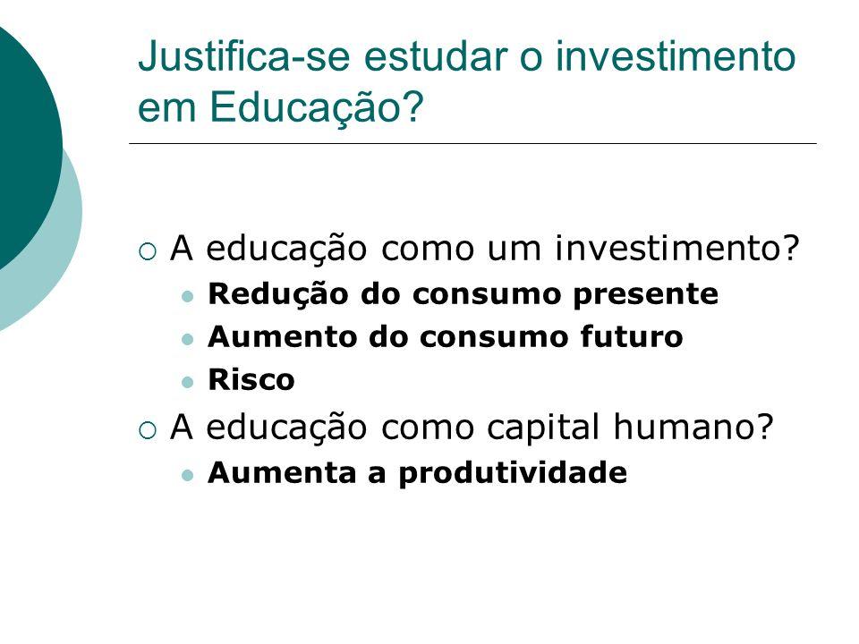 Justifica-se estudar o investimento em Educação. A educação como um investimento.