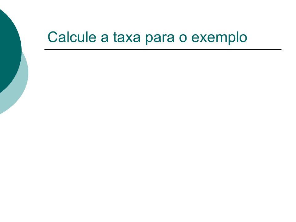 Calcule a taxa para o exemplo