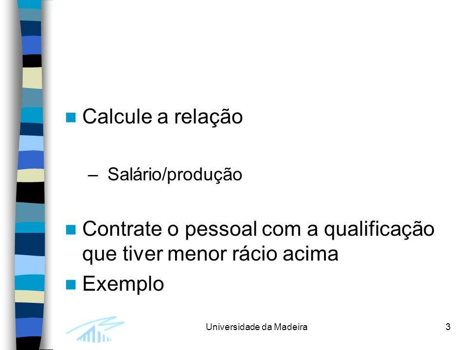 Universidade da Madeira3 Calcule a relação – Salário/produção Contrate o pessoal com a qualificação que tiver menor rácio acima Exemplo