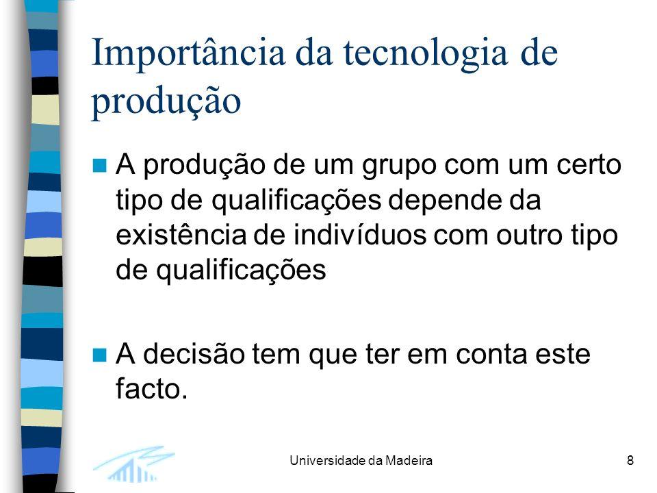 Universidade da Madeira8 Importância da tecnologia de produção A produção de um grupo com um certo tipo de qualificações depende da existência de indivíduos com outro tipo de qualificações A decisão tem que ter em conta este facto.