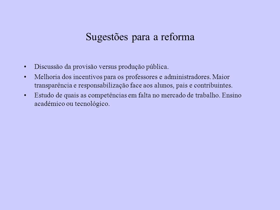 Sugestões para a reforma Discussão da provisão versus produção pública.