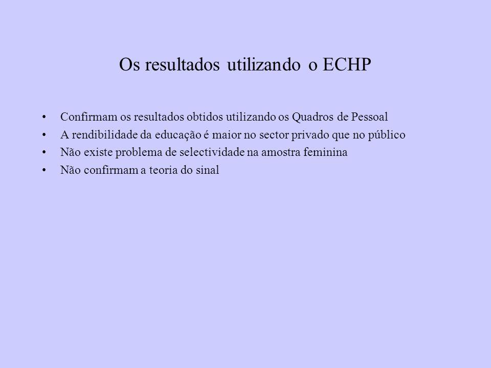 Os resultados utilizando o ECHP Confirmam os resultados obtidos utilizando os Quadros de Pessoal A rendibilidade da educação é maior no sector privado que no público Não existe problema de selectividade na amostra feminina Não confirmam a teoria do sinal