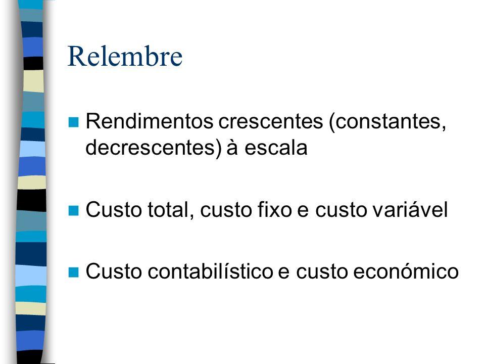 Relembre Rendimentos crescentes (constantes, decrescentes) à escala Custo total, custo fixo e custo variável Custo contabilístico e custo económico