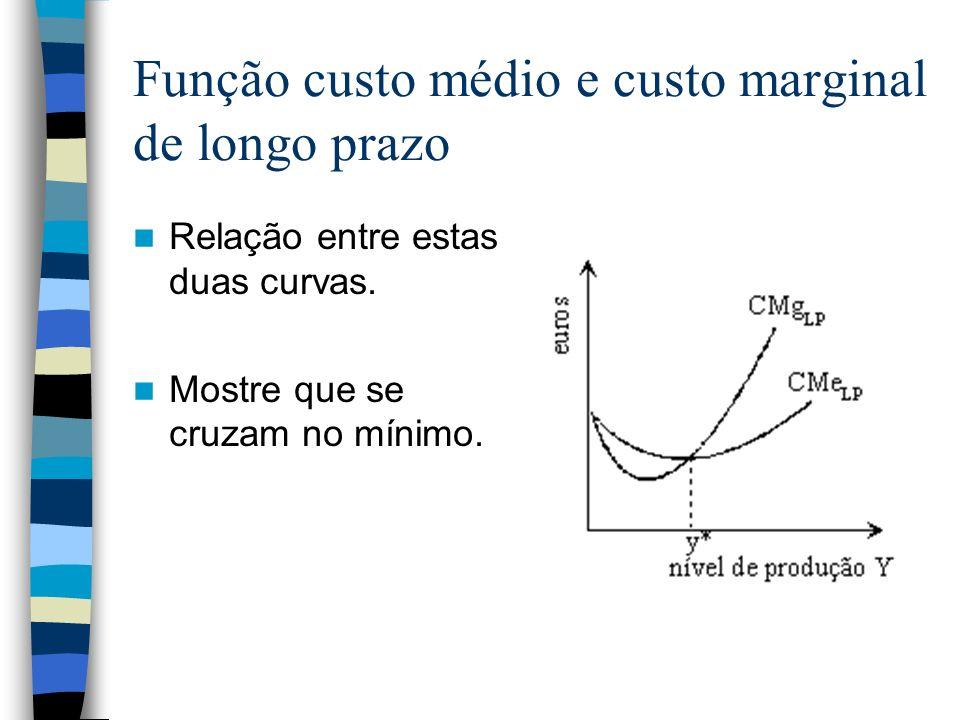Função custo médio e custo marginal de longo prazo Relação entre estas duas curvas. Mostre que se cruzam no mínimo.
