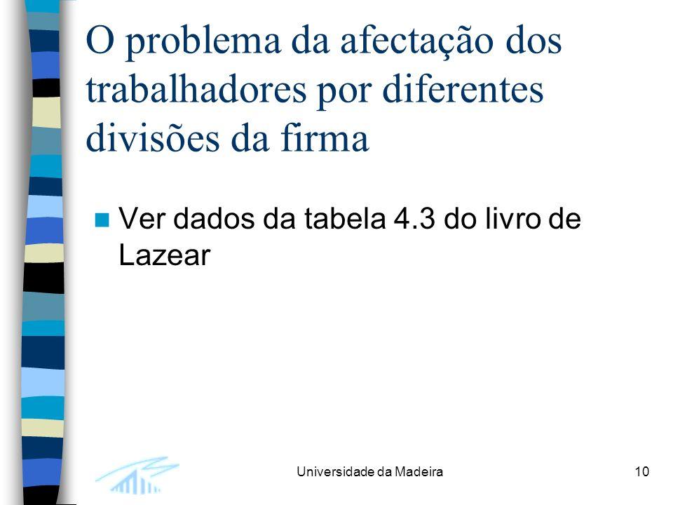 Universidade da Madeira10 O problema da afectação dos trabalhadores por diferentes divisões da firma Ver dados da tabela 4.3 do livro de Lazear