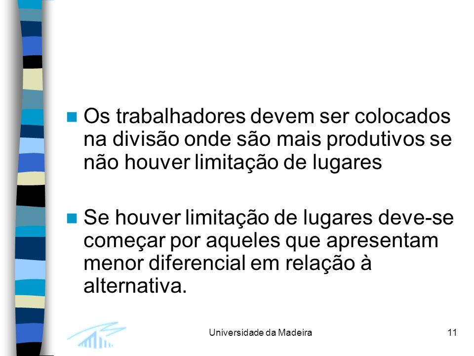 Universidade da Madeira11 Os trabalhadores devem ser colocados na divisão onde são mais produtivos se não houver limitação de lugares Se houver limitação de lugares deve-se começar por aqueles que apresentam menor diferencial em relação à alternativa.
