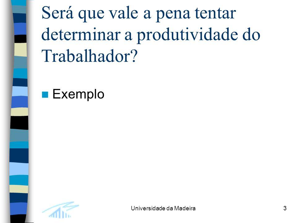 Universidade da Madeira3 Será que vale a pena tentar determinar a produtividade do Trabalhador.