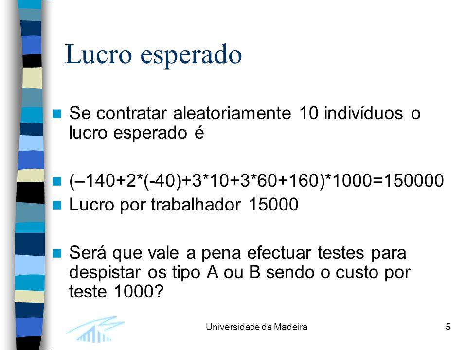 Universidade da Madeira5 Lucro esperado Se contratar aleatoriamente 10 indivíduos o lucro esperado é (–140+2*(-40)+3*10+3*60+160)*1000=150000 Lucro po