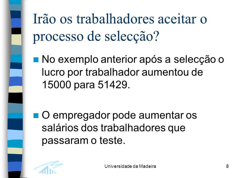 Universidade da Madeira8 Irão os trabalhadores aceitar o processo de selecção? No exemplo anterior após a selecção o lucro por trabalhador aumentou de