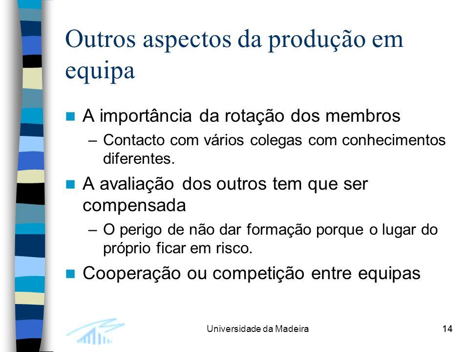 14Universidade da Madeira14 Outros aspectos da produção em equipa A importância da rotação dos membros –Contacto com vários colegas com conhecimentos diferentes.