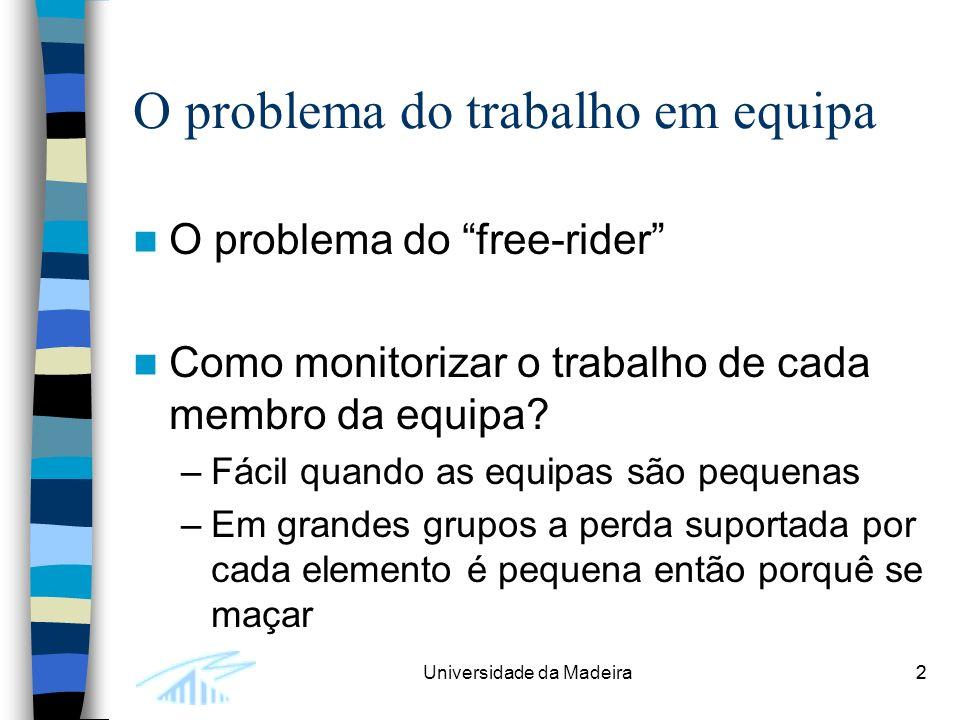 2Universidade da Madeira2 O problema do trabalho em equipa O problema do free-rider Como monitorizar o trabalho de cada membro da equipa.