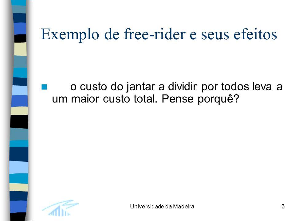 3Universidade da Madeira3 Exemplo de free-rider e seus efeitos o custo do jantar a dividir por todos leva a um maior custo total.