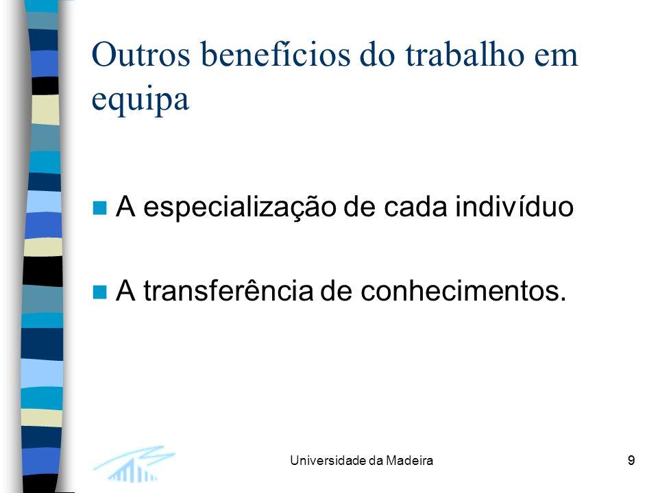 9Universidade da Madeira9 Outros benefícios do trabalho em equipa A especialização de cada indivíduo A transferência de conhecimentos.