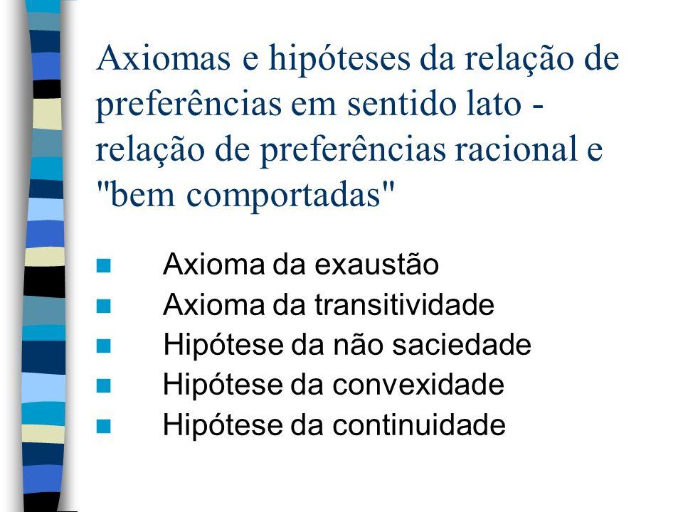 Axiomas e hipóteses da relação de preferências em sentido lato - relação de preferências racional e