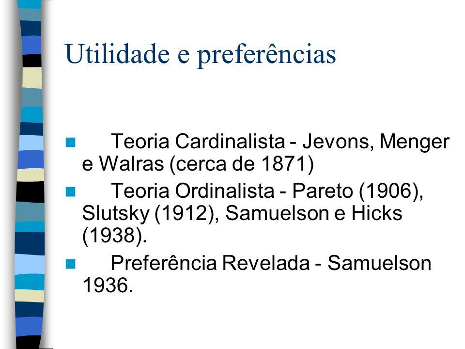 Utilidade e preferências Teoria Cardinalista - Jevons, Menger e Walras (cerca de 1871) Teoria Ordinalista - Pareto (1906), Slutsky (1912), Samuelson e