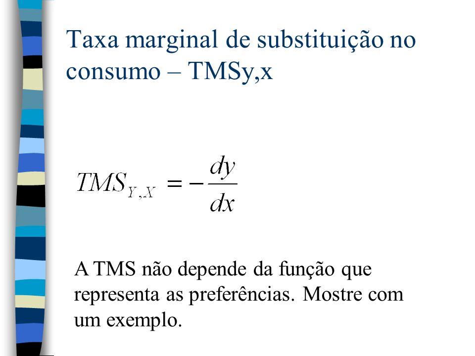 Taxa marginal de substituição no consumo – TMSy,x A TMS não depende da função que representa as preferências. Mostre com um exemplo.
