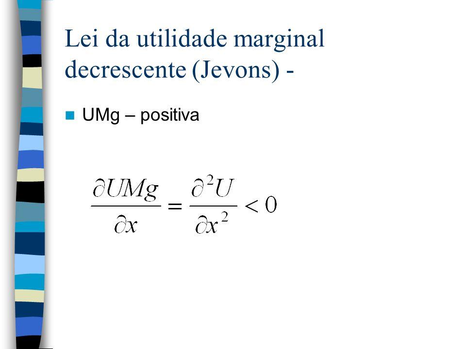 Lei da utilidade marginal decrescente (Jevons) - UMg – positiva