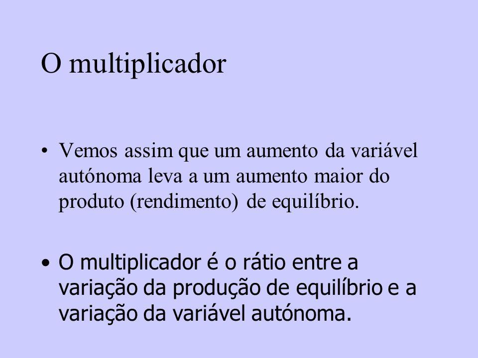 O multiplicador Vemos assim que um aumento da variável autónoma leva a um aumento maior do produto (rendimento) de equilíbrio. O multiplicador é o rát