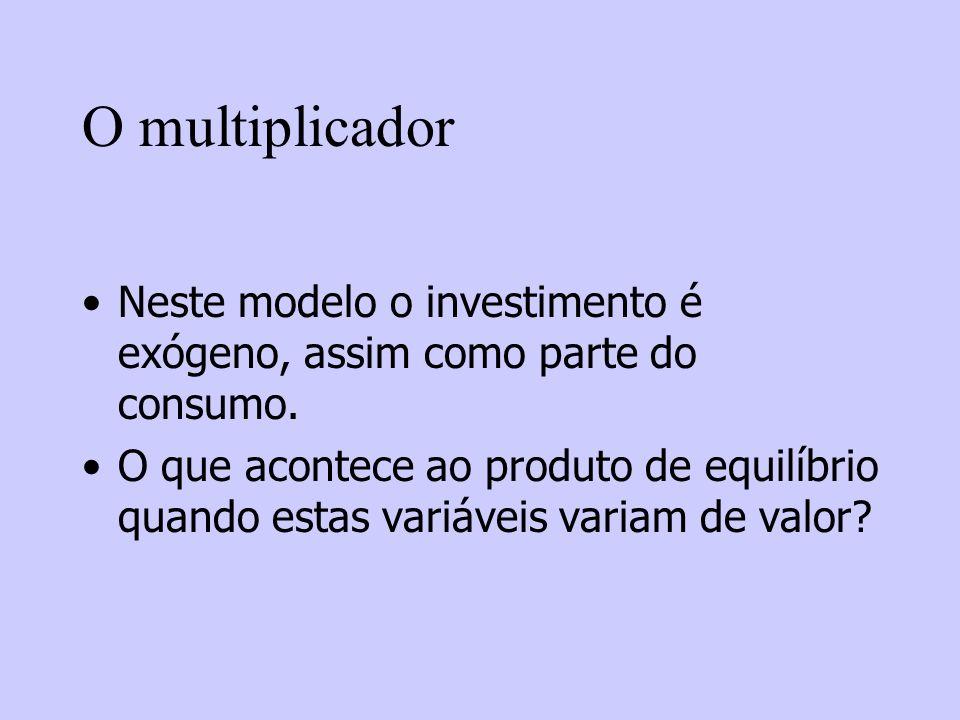 O multiplicador Neste modelo o investimento é exógeno, assim como parte do consumo. O que acontece ao produto de equilíbrio quando estas variáveis var