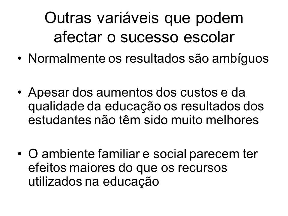 Outras variáveis que podem afectar o sucesso escolar Normalmente os resultados são ambíguos Apesar dos aumentos dos custos e da qualidade da educação