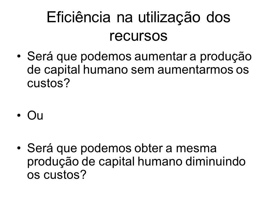 Eficiência na utilização dos recursos Será que podemos aumentar a produção de capital humano sem aumentarmos os custos? Ou Será que podemos obter a me
