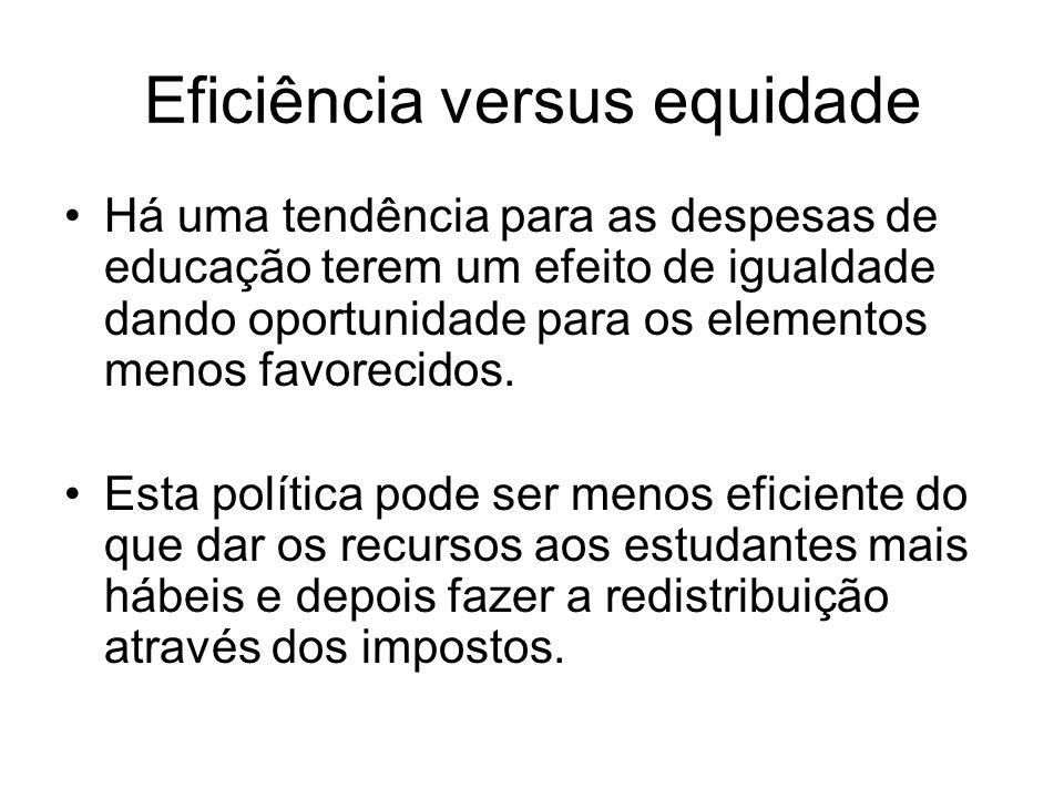 Eficiência versus equidade Há uma tendência para as despesas de educação terem um efeito de igualdade dando oportunidade para os elementos menos favor