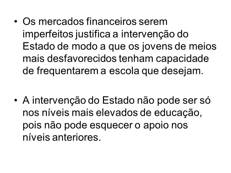 Os mercados financeiros serem imperfeitos justifica a intervenção do Estado de modo a que os jovens de meios mais desfavorecidos tenham capacidade de