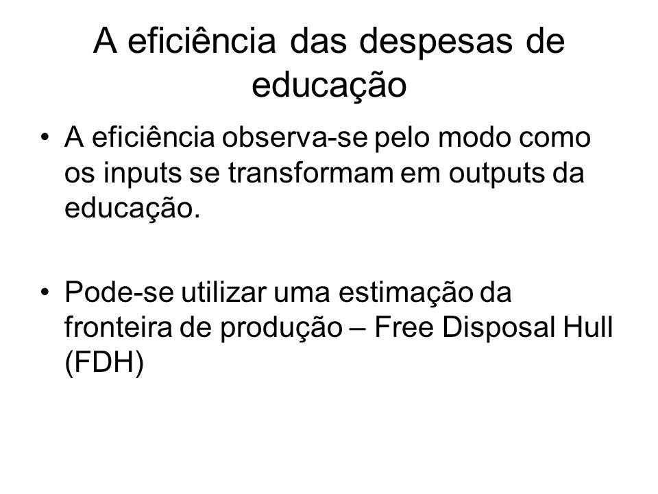 A eficiência das despesas de educação A eficiência observa-se pelo modo como os inputs se transformam em outputs da educação. Pode-se utilizar uma est