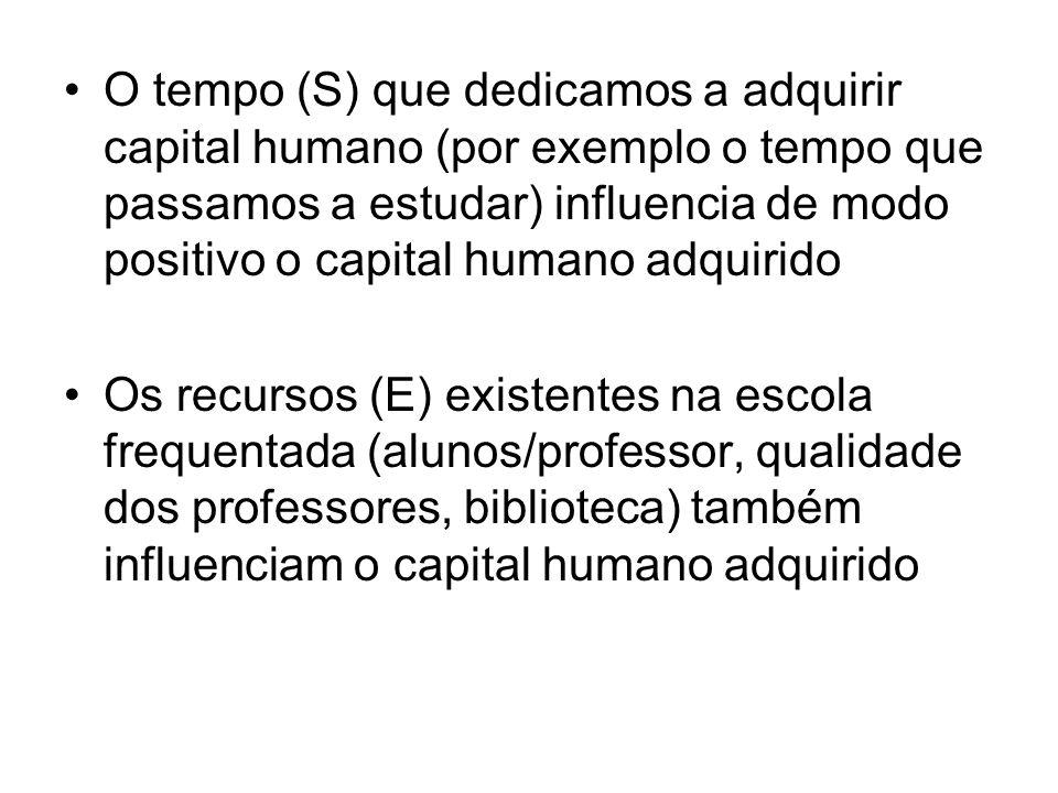 O tempo (S) que dedicamos a adquirir capital humano (por exemplo o tempo que passamos a estudar) influencia de modo positivo o capital humano adquirid