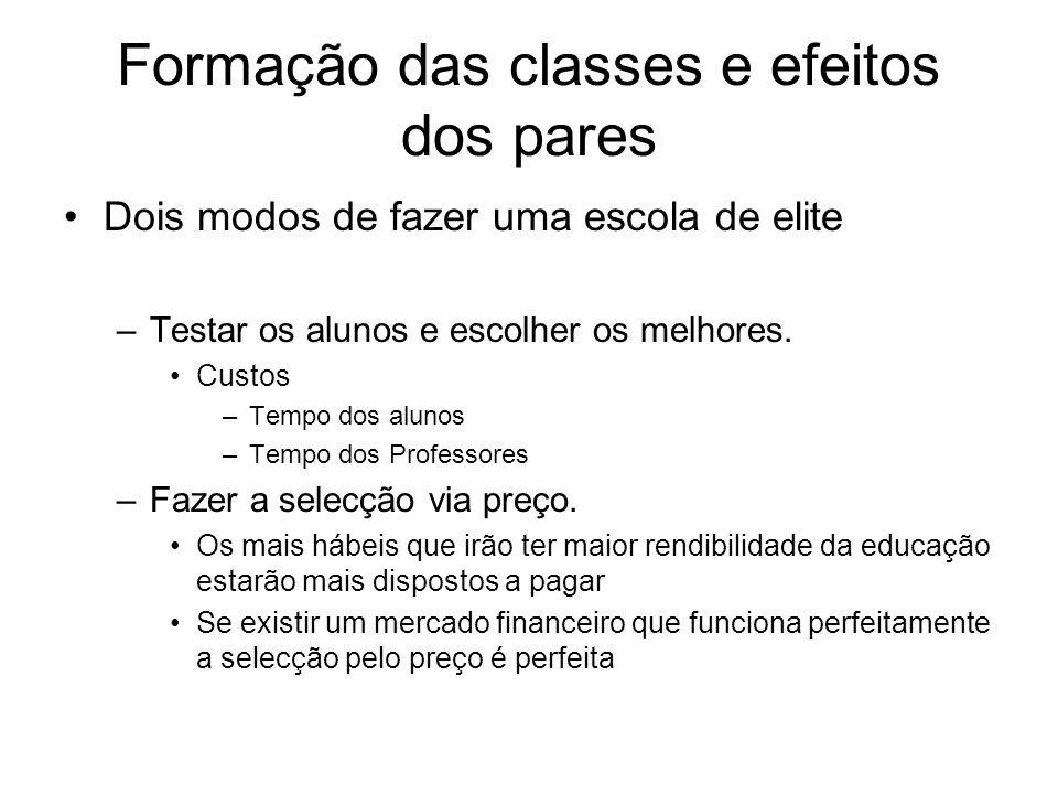 Formação das classes e efeitos dos pares Dois modos de fazer uma escola de elite –Testar os alunos e escolher os melhores. Custos –Tempo dos alunos –T