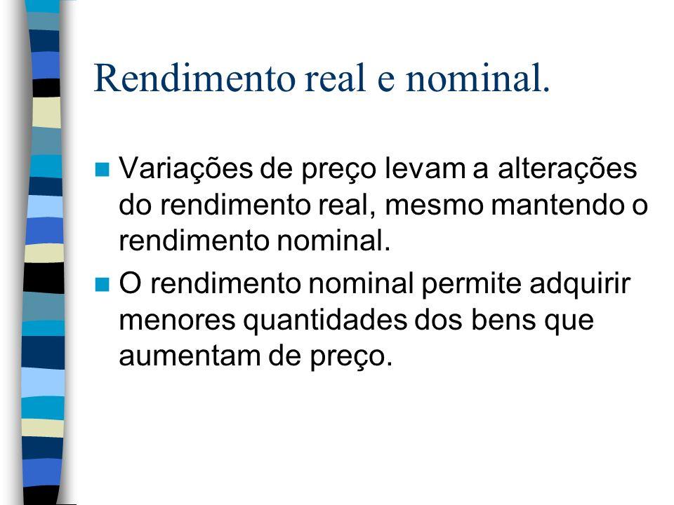 Rendimento real e nominal. Variações de preço levam a alterações do rendimento real, mesmo mantendo o rendimento nominal. O rendimento nominal permite