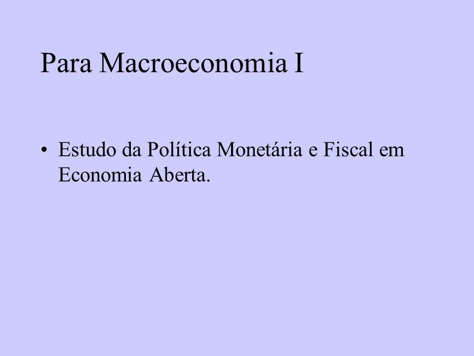 Para Macroeconomia I Estudo da Política Monetária e Fiscal em Economia Aberta.