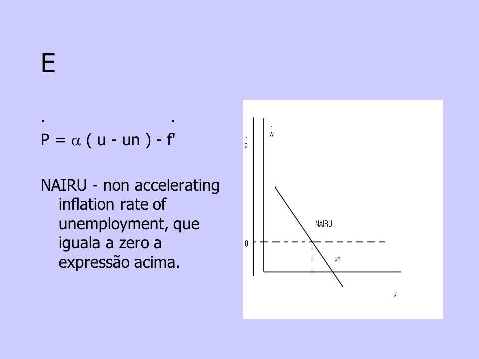 E. P = ( u - un ) - f' NAIRU - non accelerating inflation rate of unemployment, que iguala a zero a expressão acima.
