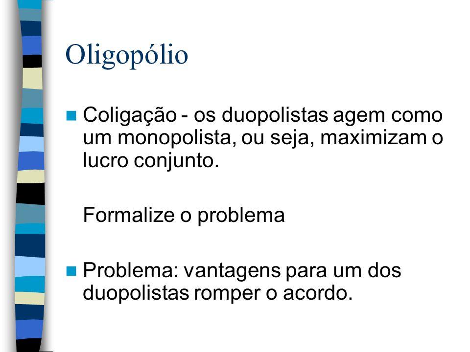 Oligopólio Coligação - os duopolistas agem como um monopolista, ou seja, maximizam o lucro conjunto. Formalize o problema Problema: vantagens para um