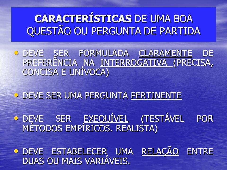 CARACTERÍSTICAS DE UMA BOA QUESTÃO OU PERGUNTA DE PARTIDA DEVE SER FORMULADA CLARAMENTE DE PREFERÊNCIA NA INTERROGATIVA (PRECISA, CONCISA E UNÍVOCA) D