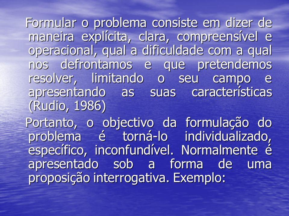 Formular o problema consiste em dizer de maneira explícita, clara, compreensível e operacional, qual a dificuldade com a qual nos defrontamos e que pr