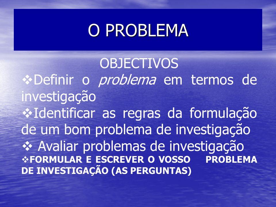 O PROBLEMA OBJECTIVOS Definir o problema em termos de investigação Identificar as regras da formulação de um bom problema de investigação Avaliar prob
