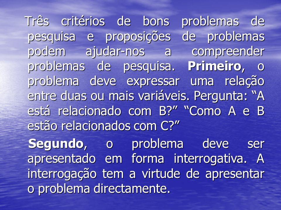 Três critérios de bons problemas de pesquisa e proposições de problemas podem ajudar-nos a compreender problemas de pesquisa. Primeiro, o problema dev