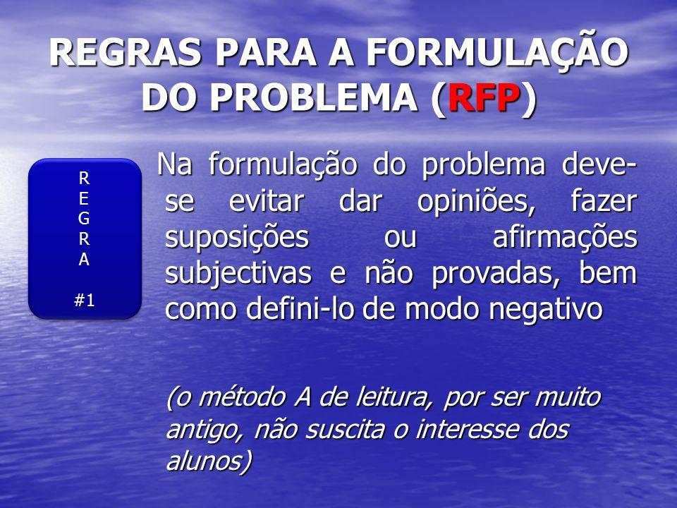 REGRAS PARA A FORMULAÇÃO DO PROBLEMA (RFP) Na formulação do problema deve- se evitar dar opiniões, fazer suposições ou afirmações subjectivas e não pr