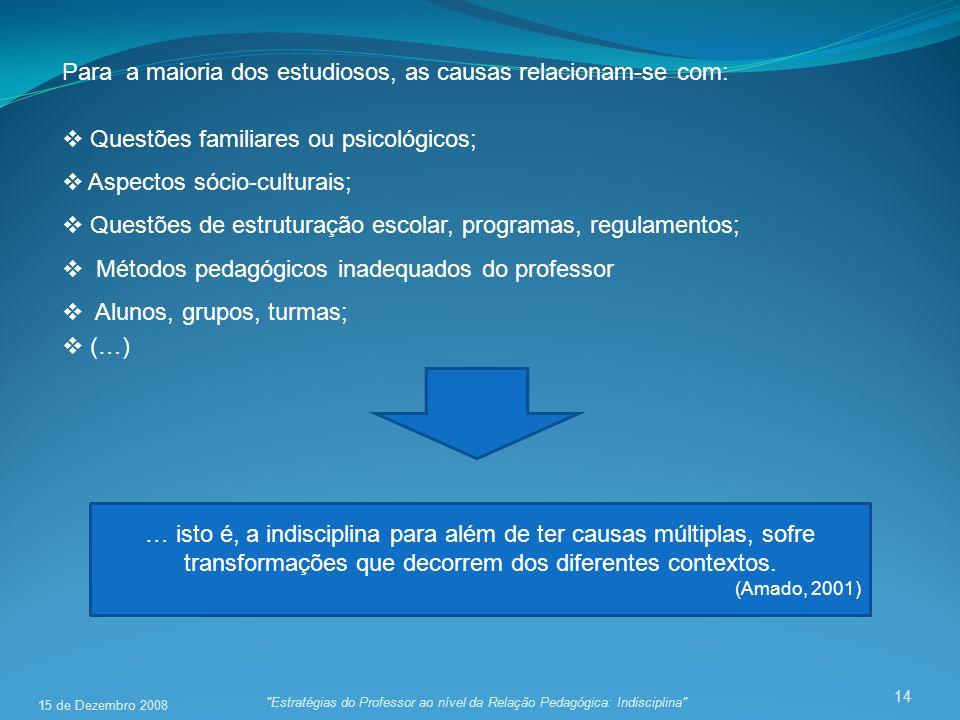 14 Para a maioria dos estudiosos, as causas relacionam-se com: Questões familiares ou psicológicos; Aspectos sócio-culturais; Questões de estruturação