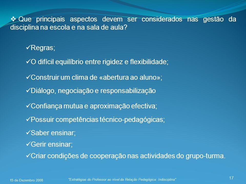 17 Que principais aspectos devem ser considerados nas gestão da disciplina na escola e na sala de aula.