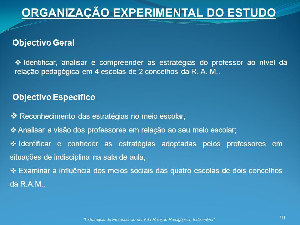 19 ORGANIZAÇÃO EXPERIMENTAL DO ESTUDO Objectivo Geral Objectivo Específico Identificar, analisar e compreender as estratégias do professor ao nível da relação pedagógica em 4 escolas de 2 concelhos da R.