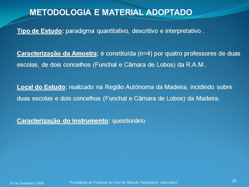 20 METODOLOGIA E MATERIAL ADOPTADO Tipo de Estudo: paradigma quantitativo, descritivo e interpretativo. Caracterização da Amostra: é constituída (n=4)