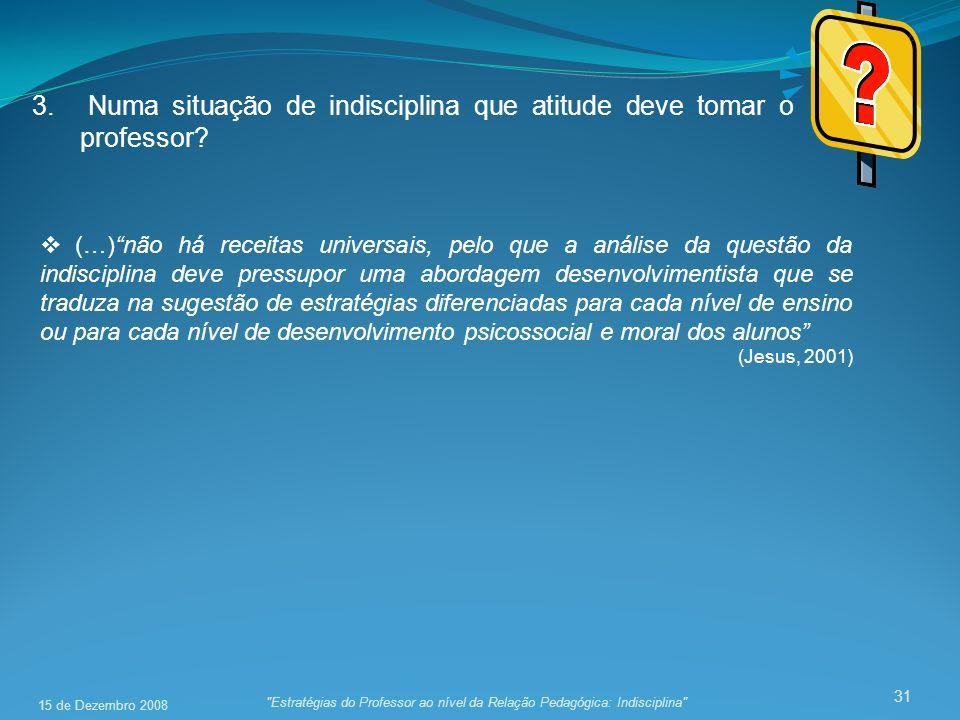 31 3. Numa situação de indisciplina que atitude deve tomar o professor?