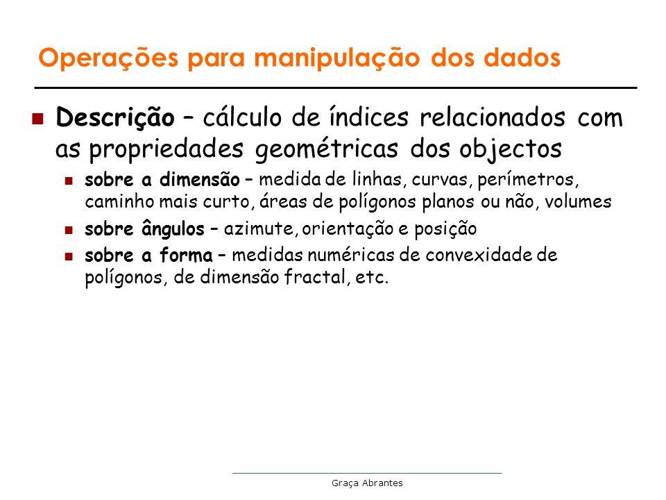 Graça Abrantes Operações para manipulação dos dados Descrição – cálculo de índices relacionados com as propriedades geométricas dos objectos sobre a d