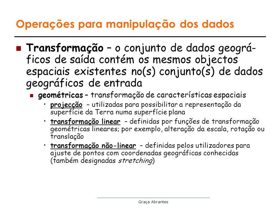 Graça Abrantes Operações para manipulação dos dados Transformação – o conjunto de dados geográ- ficos de saída contém os mesmos objectos espaciais exi