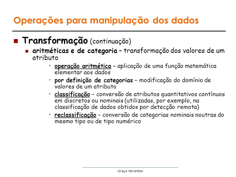 Graça Abrantes Operações para manipulação dos dados Transformação (continuação) aritméticas e de categoria – transformação dos valores de um atributo