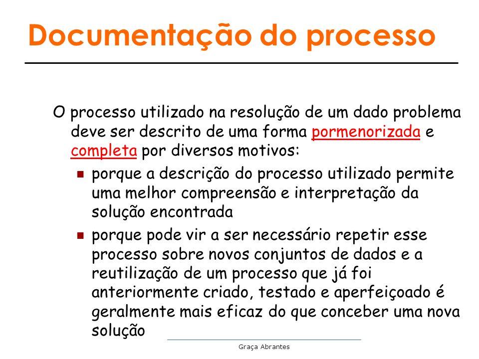 Graça Abrantes Documentação do processo O processo utilizado na resolução de um dado problema deve ser descrito de uma forma pormenorizada e completa