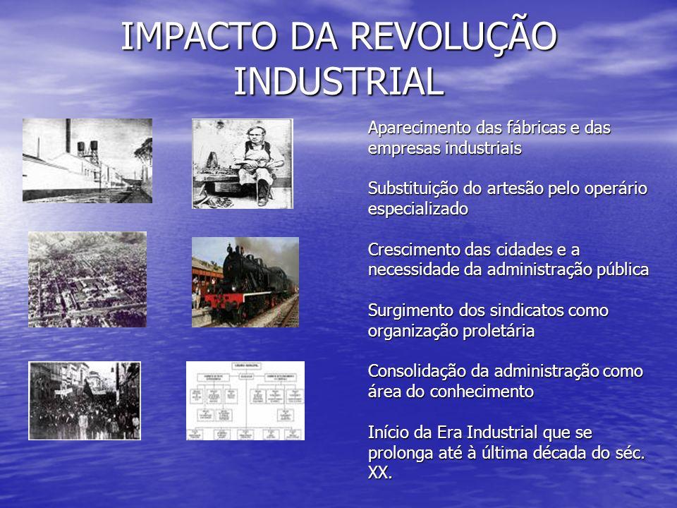 IMPACTO DA REVOLUÇÃO INDUSTRIAL Aparecimento das fábricas e das empresas industriais Substituição do artesão pelo operário especializado Crescimento d