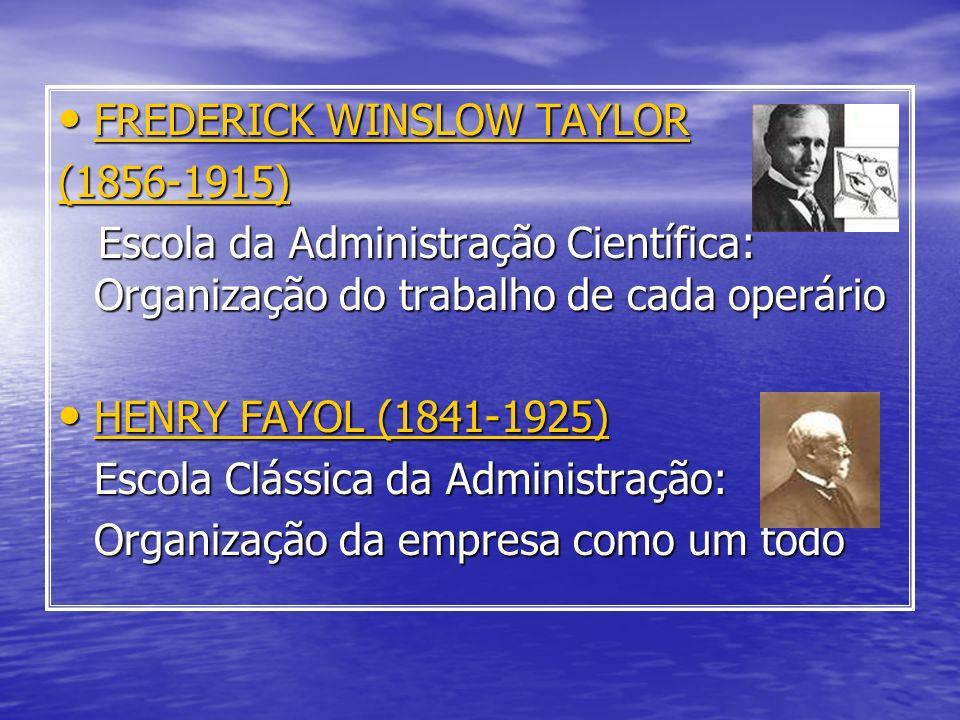 FREDERICK WINSLOW TAYLOR FREDERICK WINSLOW TAYLOR(1856-1915) Escola da Administração Científica: Organização do trabalho de cada operário Escola da Ad